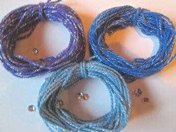 2mm Thick Cotton Bakers twine with Sparkle BLUES and PURPLE  5 or 10 metres
